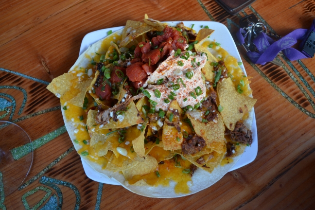 Pulled Pork Nachos w/ salsa and sour cream